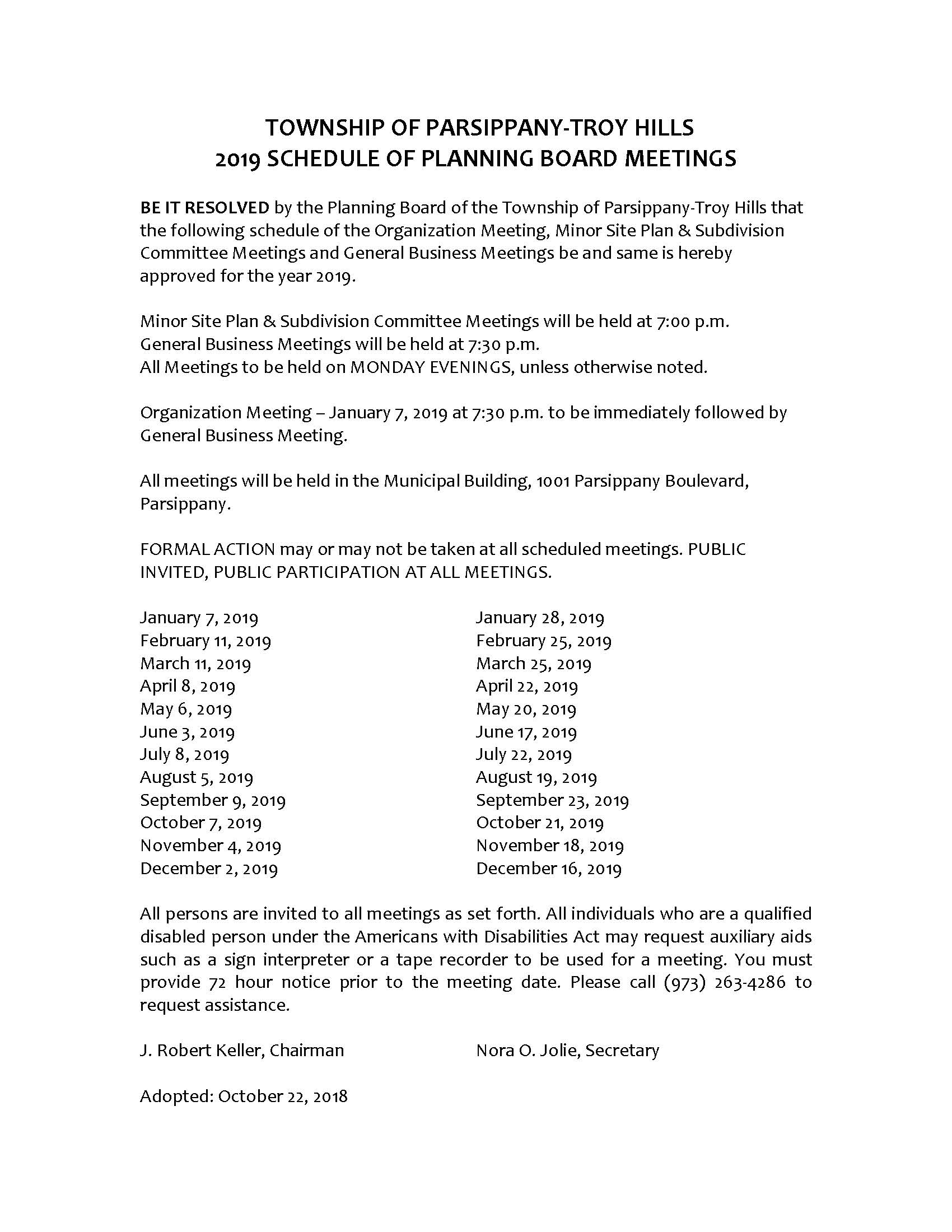2019 Planning Board Meeting Schedule