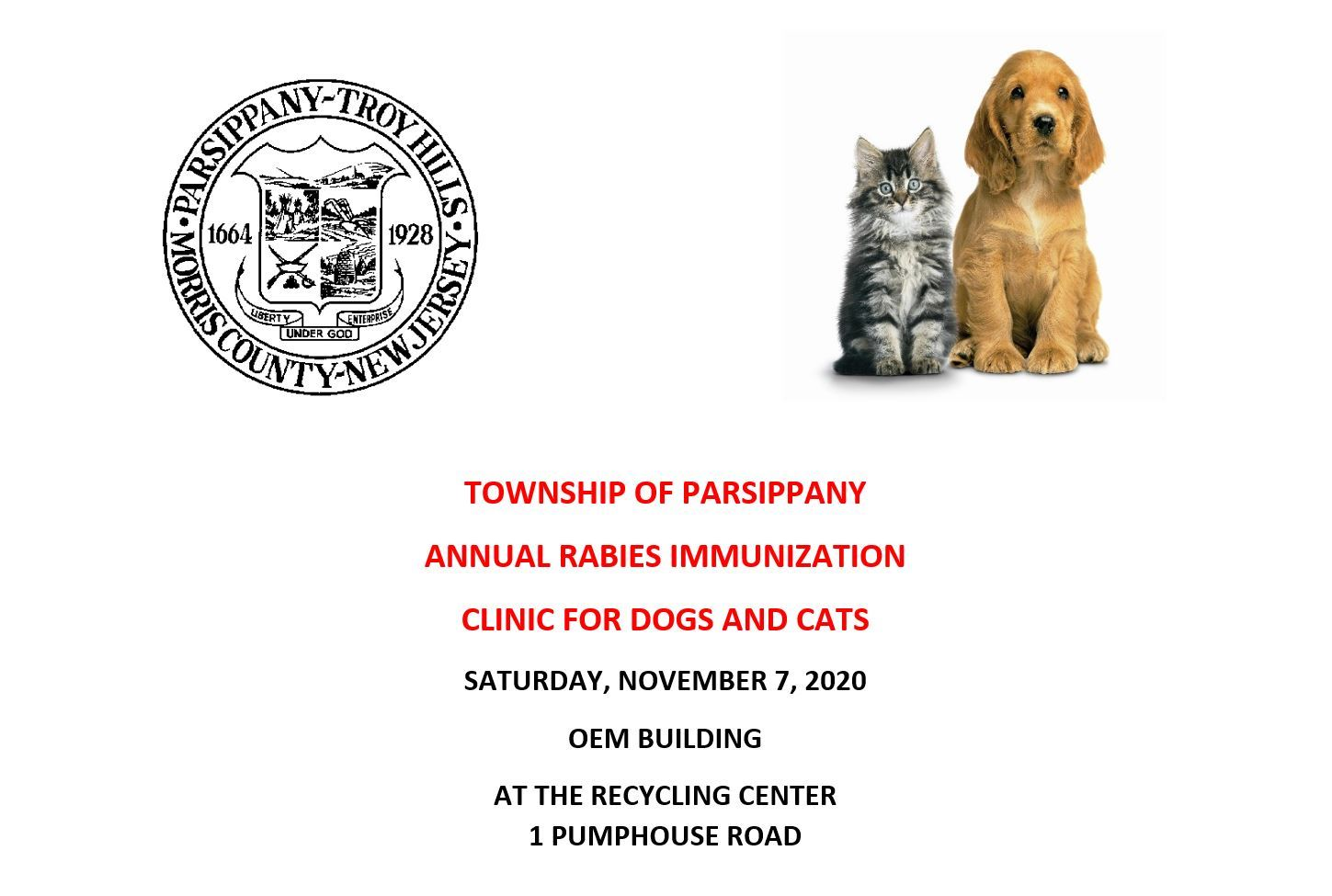 Dog and Cat Immunization November 7